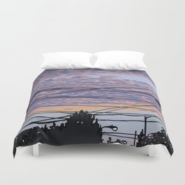 Telephone Poles at Sunset 1 Duvet Cover