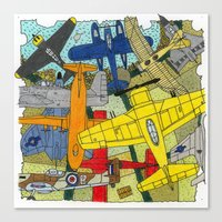 planes Canvas Prints featuring PLANES by The Gold Egg Company