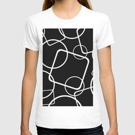 Black and white minimalist geometric abstract T-shirt