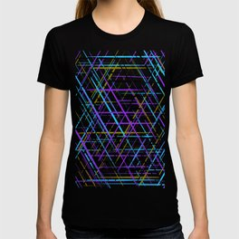 Blue, Purple and Green Line Abstract Pattern T-shirt