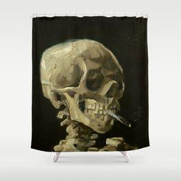 Vincent van Gogh - Skull of a Skeleton with Burning Cigarette Shower Curtain