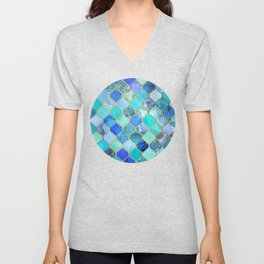 Cobalt Blue, Aqua & Gold Decorative Moroccan Tile Pattern Unisex V-Neck