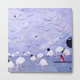 Flamingos on the beach  Metal Print