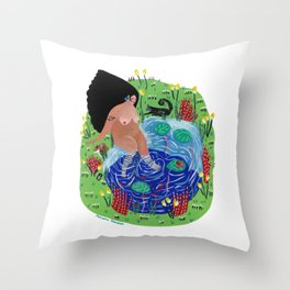 Little lake of happiness Throw Pillow