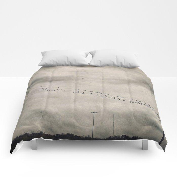 Birds in the Rain Comforters