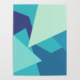 Retro Blue Mid-century Minimalist Geometric Line Abstract Art Poster
