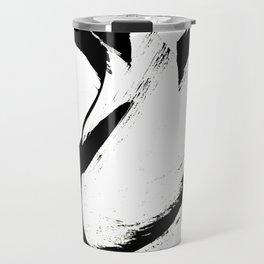 Brushstroke 6: a minimal, abstract, black and white piece Travel Mug