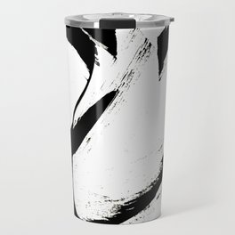 Brushstroke 6: a minimal, abstract, black and white piece Travel Mug