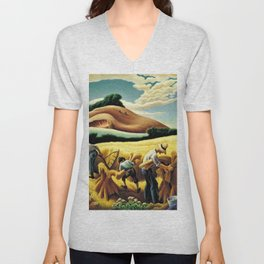 Classical Masterpiece 'Cradling Wheat' by Thomas Hart Benton Unisex V-Neck