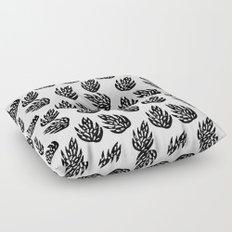 Linocut black and white leaves tropical botanical pattern minimalist decor Floor Pillow