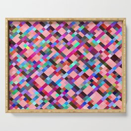 geometric pixel square pattern abstract background in pink purple blue yellow green Serving Tray