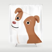 pitbull Shower Curtains featuring Pitbull - Cute Dog Series by Cassandra Berger