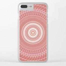 Pastel Peach White Boho Chic Mandala Clear iPhone Case