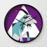 goat Wall Clocks featuring Goat by Sudário