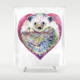 HedgeHog Heart by Michelle Scott of dotsofpaint studios Shower Curtain