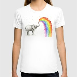 Baby Elephant Rainbow Spraying Cute Whimsical Animals T-shirt