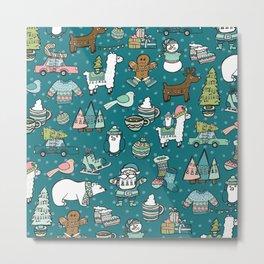 Holly Jolly Christmas Pattern, Holiday Decor, Blue Christmas, Fa la llama, Hand Drawn Illustrations Metal Print
