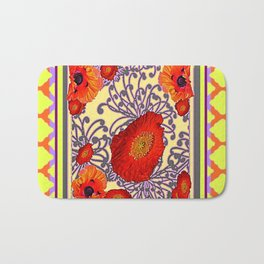Lemon Caramel Trellis Pattern Poppy Flowers Art Bath Mat