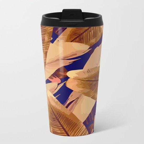 Banana Leaves Orange and Purple Metal Travel Mug