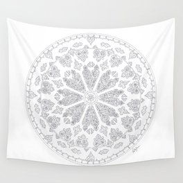 Ultimate Gray Outline Rose Window Wall Tapestry