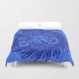 Ganesha Lineart Blue Duvet Cover