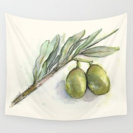 Olive Branch | Green Olives | Watercolor Illustration Wall Tapestry
