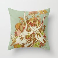 spring Throw Pillows featuring skulls in spring by Teagan White