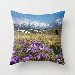 Mountains and crocus flowers on Velika Planina, Slovenia Throw Pillow
