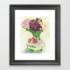 Peonies and Watermelon Framed Art Print