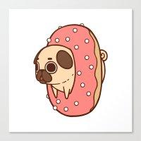 doughnut Canvas Prints featuring Puglie Doughnut by Puglie Pug