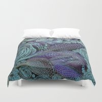 fairy tale Duvet Covers featuring Blue fairy tale. by Mary Berg
