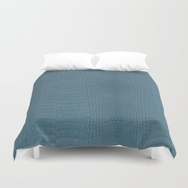 Turquoise Alligator Leather Print Duvet Cover