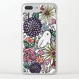 Flowers, Birds & A Heart Clear iPhone Case