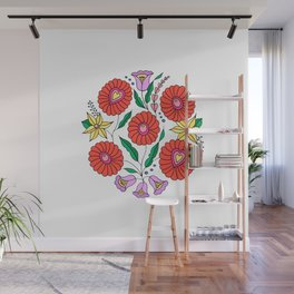 Hungarian embroidery inspired pattern white Wall Mural