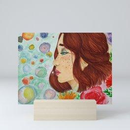 Watercolor Flower Portrait Mini Art Print