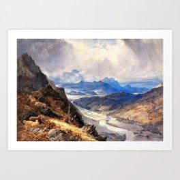 A View From Moel Cynwich, Afon Mawddach And Toward Cader Idris - William Turner Art Print