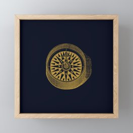 The golden compass I- maritime print with gold ornament Framed Mini Art Print