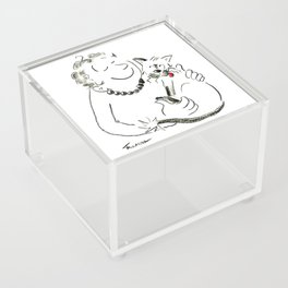 Cat Lady Love Illustration Acrylic Box