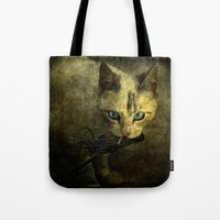 abigail larson Tote Bags featuring Abigail with prey by AliceArtDotCom