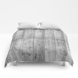Wood Planks in black and white Comforters