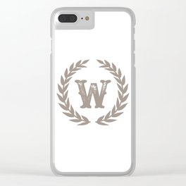 Beige Monogram: Letter W Clear iPhone Case