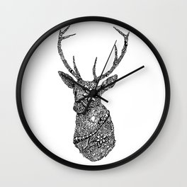 Stag Head Zentangle Wall Clock