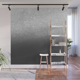 Modern faux silver glitter ombre grey black color block Wall Mural