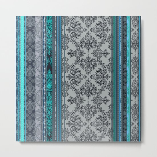 Teal, Aqua & Grey Vintage Bohemian Wallpaper Stripes Metal Print