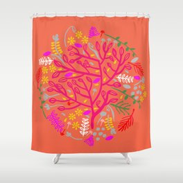 Folk Tree Shower Curtain