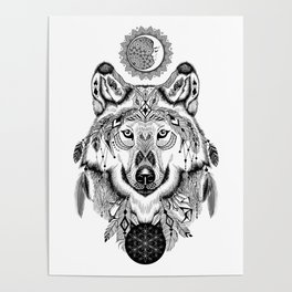 Bohemian Celestial Wolf Poster