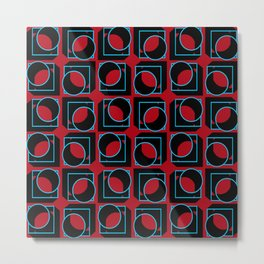 Tubes in Cubes on Red Metal Print