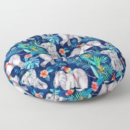 Elephants and Parrots in Indigo Blue Floor Pillow