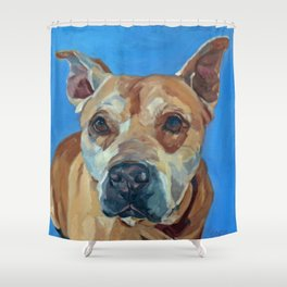 Happy the Bully Dog Portrait Shower Curtain