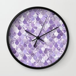 Mermaid Glam, Purple Sparkle Wall Clock